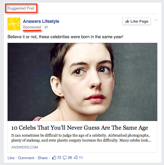 facebook suggested post related to recent activity