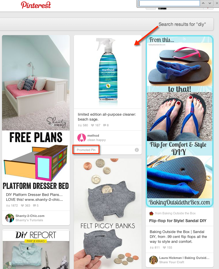 promoted pin on pinterest