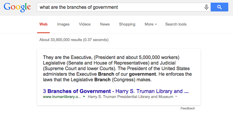 google answers what are branches of government