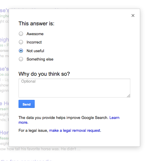 google feedback for question in SERP
