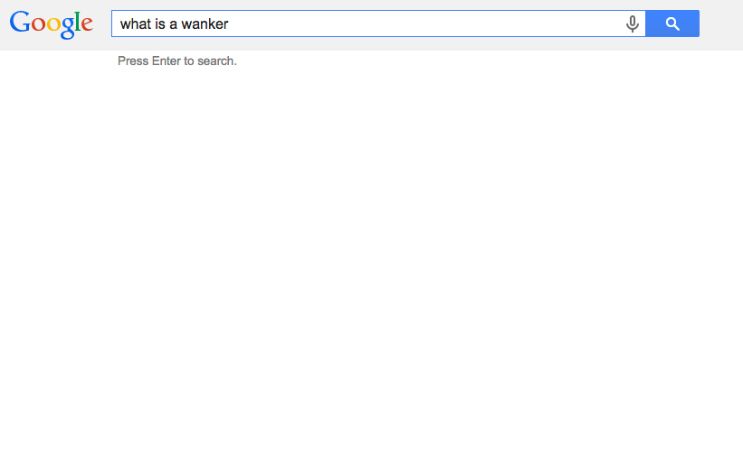 google search for what is wanker