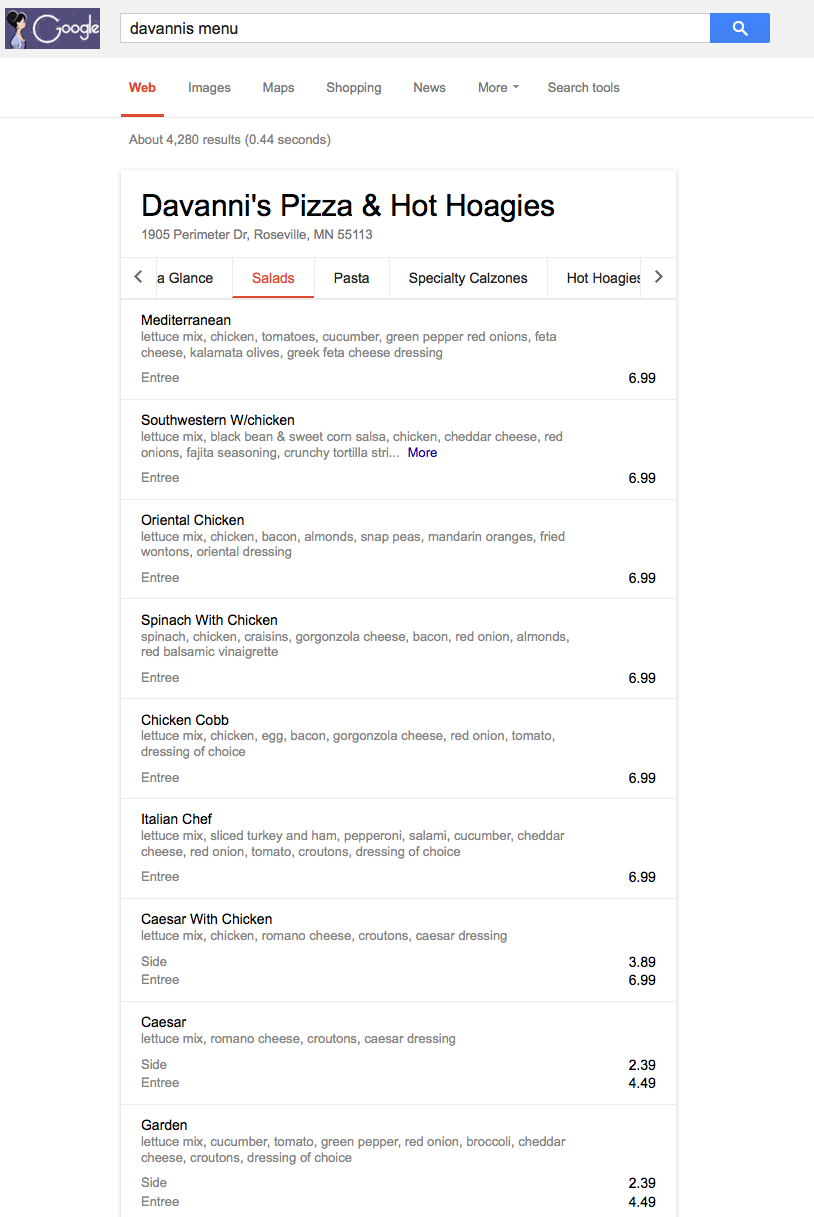 davannis menu google answer box
