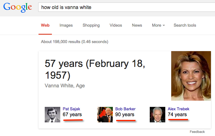 how old is vanna white google answer box