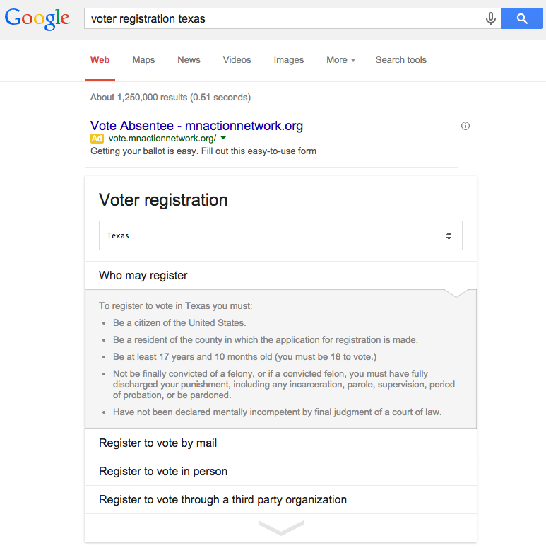 texas voter registration google answer box