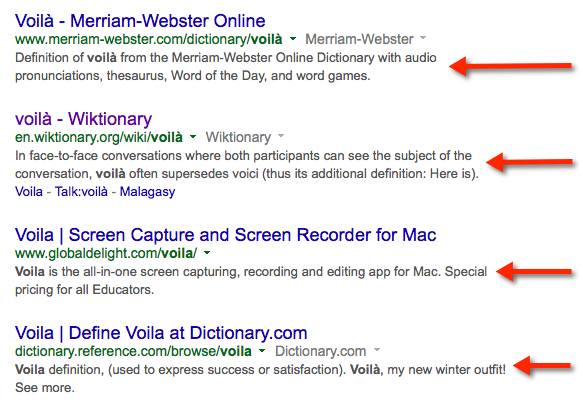 search of voila in search engines