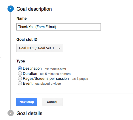 google analytics goal setup 3