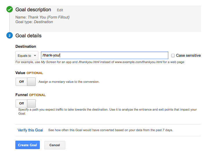 google analytics goal setup 4