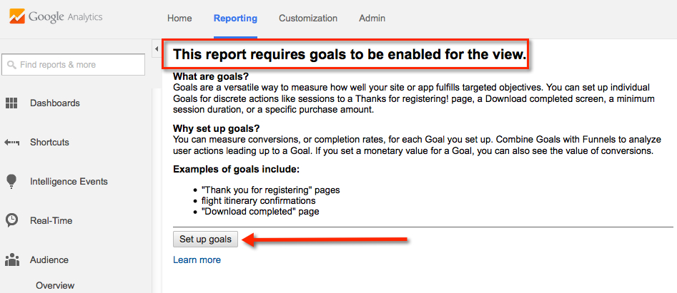 google analytics goals not set up