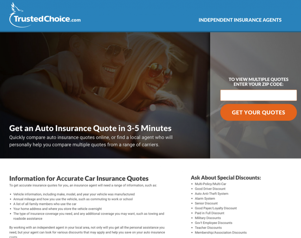trusted choice landing page