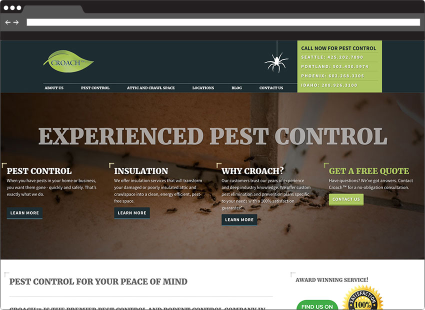Portfolio Croach Pest Control Website Design In Seattle Wa